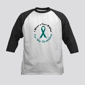 Teal Ribbon For My Grandma 4 Kids Baseball Jersey