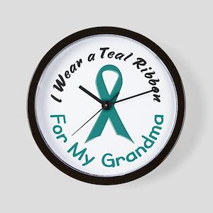 Teal Ribbon For My Grandma 4 Wall Clock