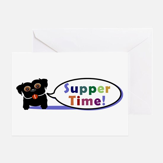 Suppertime Pug Greeting Card