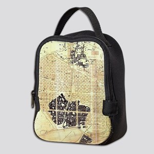 Vintage Map of Barcelona Spain Neoprene Lunch Bag