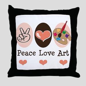 Peace Love Art Teacher Artist Throw Pillow
