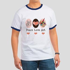 Peace Love Art Teacher Artist Ringer T