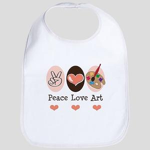 Peace Love Art Teacher Artist Bib