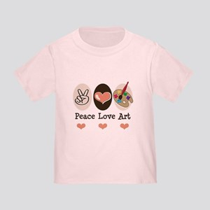 Peace Love Art Teacher Artist Toddler Tee