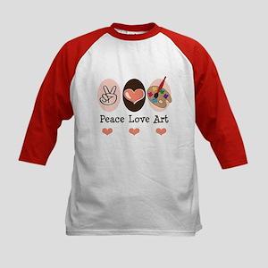 Peace Love Art Teacher Artist Kids Baseball Jersey