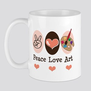 Peace Love Art Teacher Artist Mug