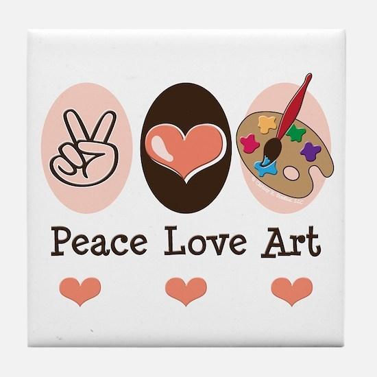 Peace Love Art Teacher Artist Tile Coaster