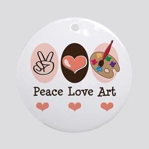 Peace Love Art Teacher Artist Ornament (Round)