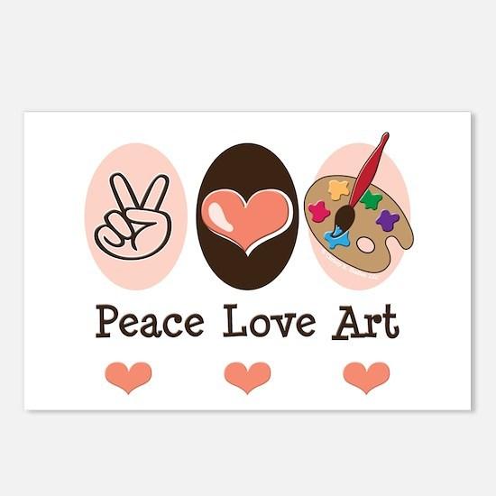 Peace Love Art Teacher Artist Postcards 8 Pack