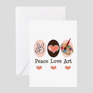 Peace Love Art Teacher Artist Greeting Card