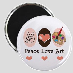 Peace Love Art Teacher Artist Magnet