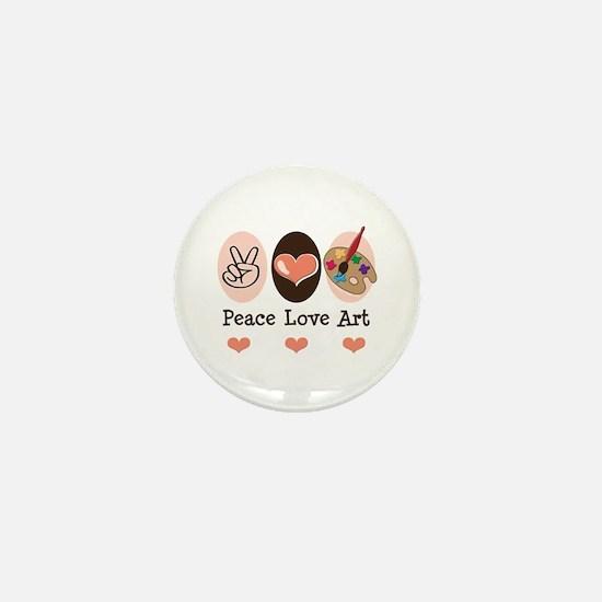 Peace Love Art Teacher Artist Mini Button