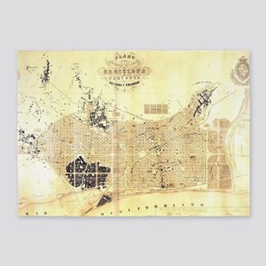 Vintage Map of Barcelona Spain (185 5'x7'Area Rug