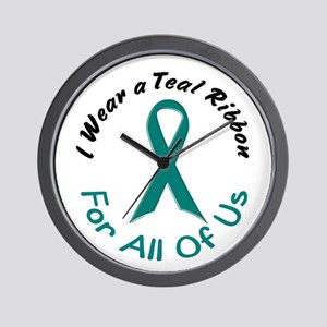 Teal Ribbon For All Of Us 4 Wall Clock