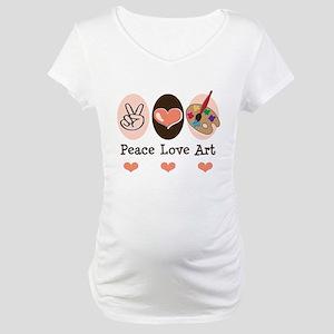 Peace Love Art Teacher Artist Maternity T-Shirt