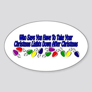 Christmas lights down Oval Sticker