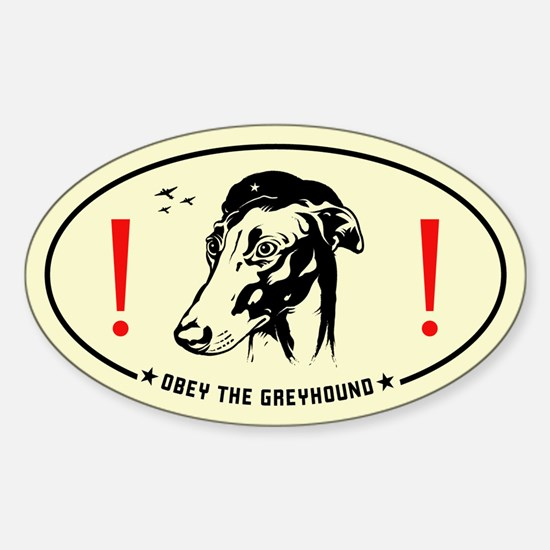 Obey the Greyhound! icon Oval Decal