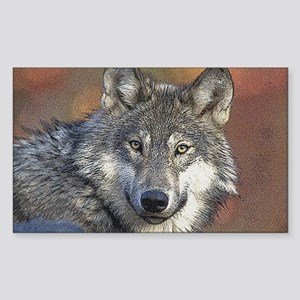 Wolf Art Rectangle Sticker