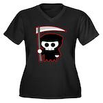 Grim Reaper Women's Plus Size V-Neck Dark T-Shirt