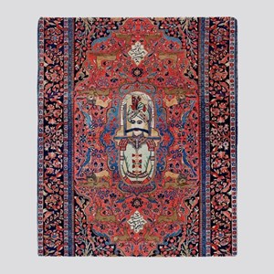 Antique Persian Rug Throw Blanket