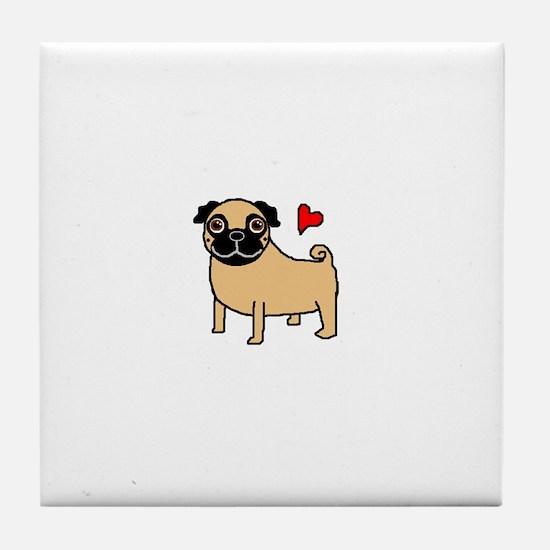 Fawn Pug Love Tile Coaster