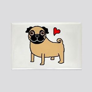Fawn Pug Love Rectangle Magnet