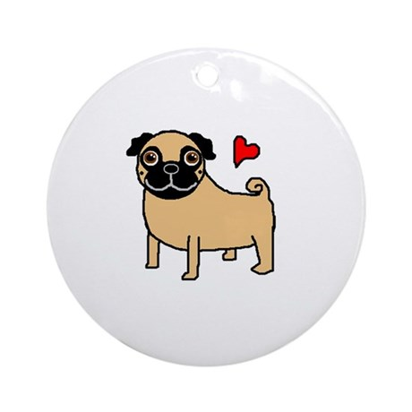 Fawn Pug Love Ornament (Round)