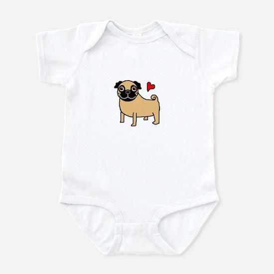 Fawn Pug Love Infant Bodysuit