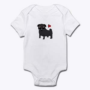 Black Pug Love Infant Bodysuit