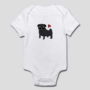 Black Pug Love Infant Bodysuit