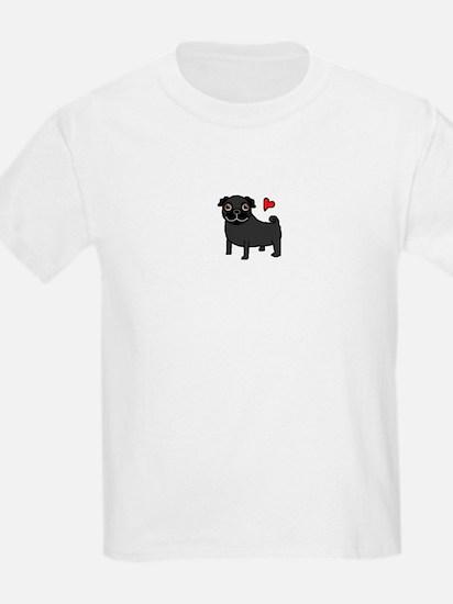Black Pug Love T-Shirt