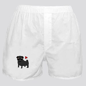 Black Pug Love Boxer Shorts