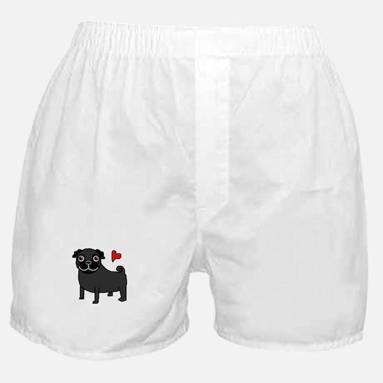 Black Pug Love Boxer Shorts