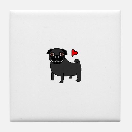 Black Pug Love Tile Coaster