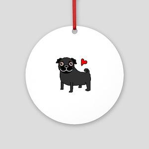 Black Pug Love Ornament (Round)