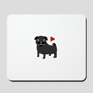 Black Pug Love Mousepad