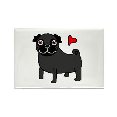 Black Pug Love Rectangle Magnet (100 pack)