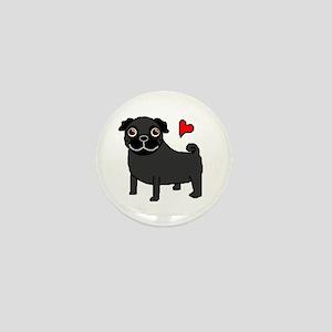 Black Pug Love Mini Button
