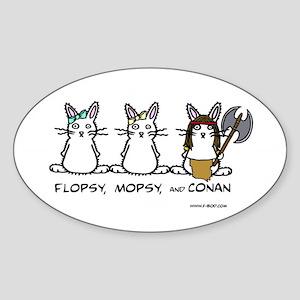 Flopsy, Mopsy, and Conan Oval Sticker