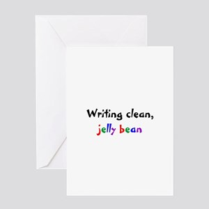 Writing clean, jelly bean Greeting Card