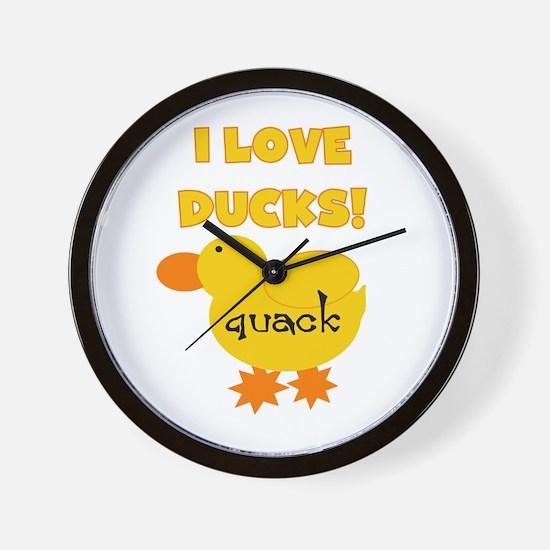 I Love Ducks Wall Clock