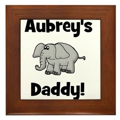 Aubrey's Daddy Elephant Framed Tile