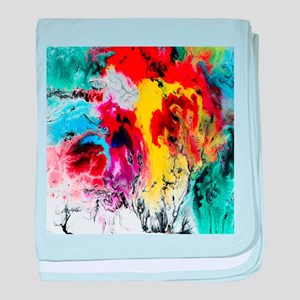 abstract minimalist colorful watercol baby blanket