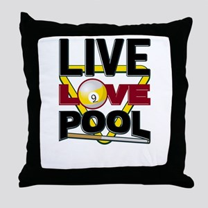 Live Love Pool Black Cue And Rack Throw Pillow
