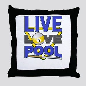 Live Love Pool Blue Cue And Rack Throw Pillow