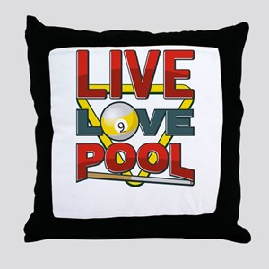Live Love Pool Red Cue And Rack Throw Pillow