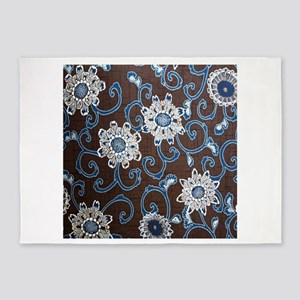japanese brown blue floral 5'x7'Area Rug