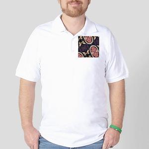 floral patten japanese textile Golf Shirt