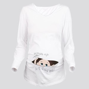 Funny Maternity Peek Long Sleeve Maternity T-Shirt