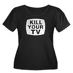 Kill Your TV Women's Plus Size Scoop Neck Dark T-S